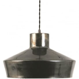 ELEGANCE striking mid-century metal ceiling pendant light - antique silver