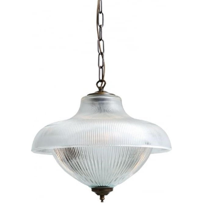 Victorian Ribbed Glass Ceiling Pendant Light For High