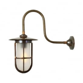 FABO industrial swan neck wall light with frosted well glass shade on antique brass fitting