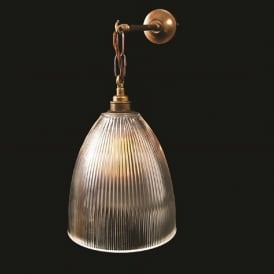 FEND traditional halophane glass wall light on antique brass fitting
