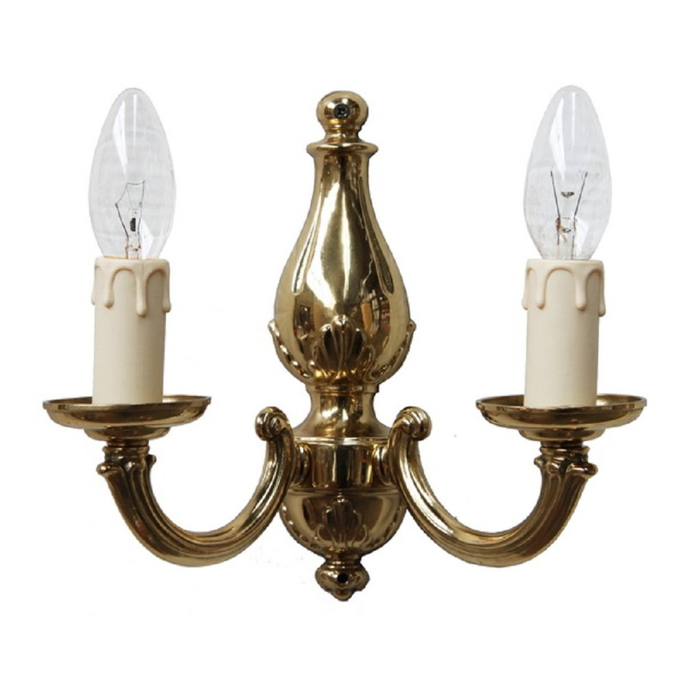 Gold Candle Wall Lights : Double Candle Wall Light in Classic Regency Gold Fitting