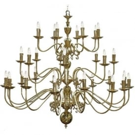 FLEMISH very large gold polished brass chandelier with 32 candle style lights
