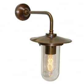 FLORIN industrial style antique brass wall light with well glass shade