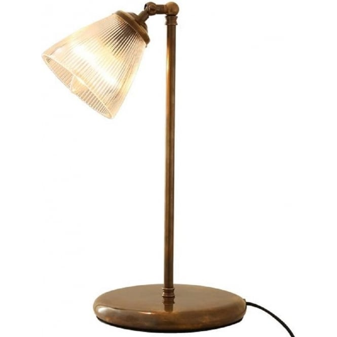 Traditional antique brass desk lamp with ribbed halophane glass shade aloadofball Gallery