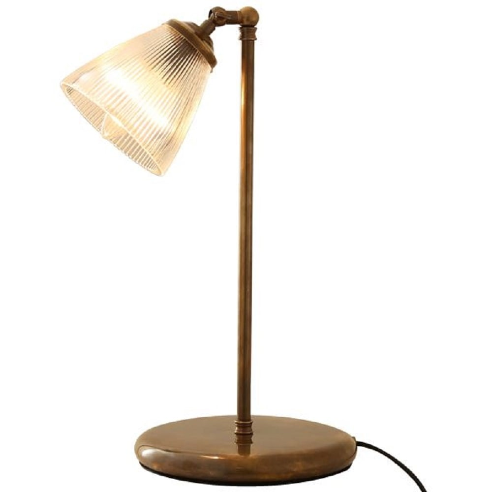 Traditional Antique Brass Desk Lamp With Ribbed Halophane Glass Shade