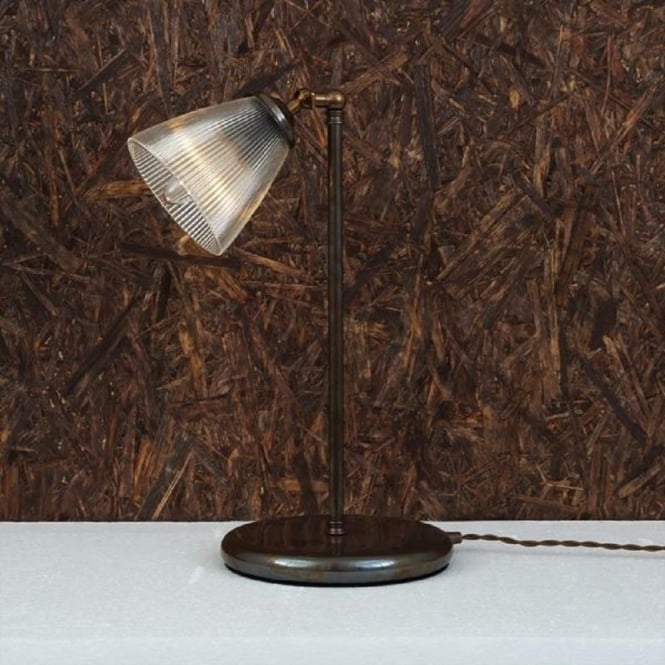 GADAR Antique Brass Table Lamp With Ribbed Glass Shade