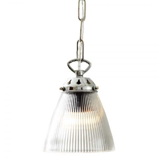 Small Ribbed Glass Hanging Ceiling Pendant Light On Chrome