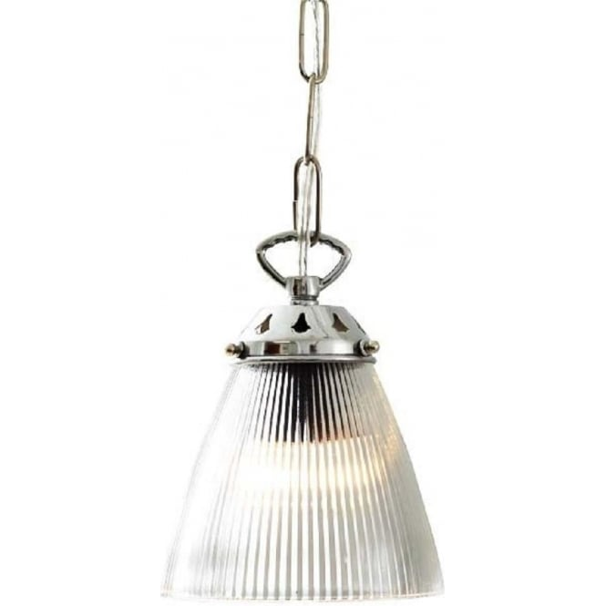 Small Ribbed Glass Hanging Ceiling Pendant Light On Chrome Fitting