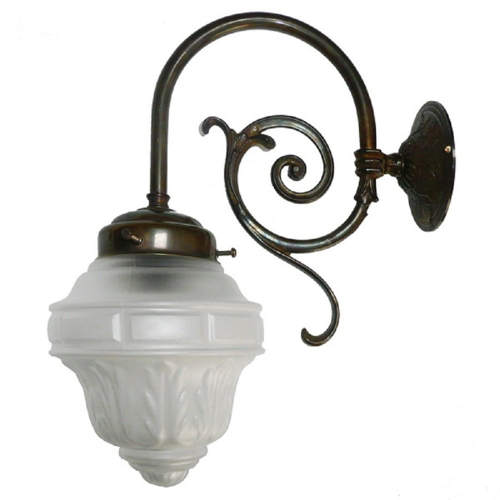 Single Victorian Wall Light In Aged Brass With Etched