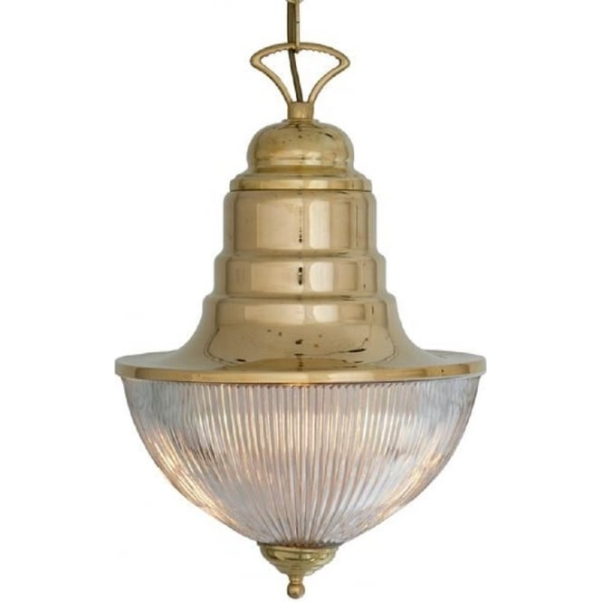 Nautical Decor Pendant Lighting: Ships Pendant Hanging Lantern In Solid Brass With Ribbed