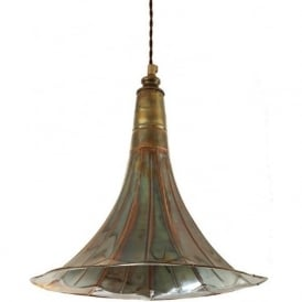 GRAMOPHONE horn ceiling pendant light in antique brass on brown braid cable