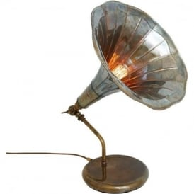 GRAMOPHONE horn table lamp in pearlescent antique brass finish