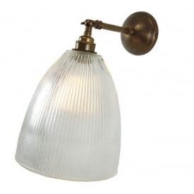 HALE prismatic halophane glass wall light with adjustable shade - antique brass fitting