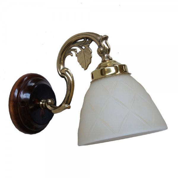 Gold and Wood Wall Light with Cream Glass Shade in Traditional Design