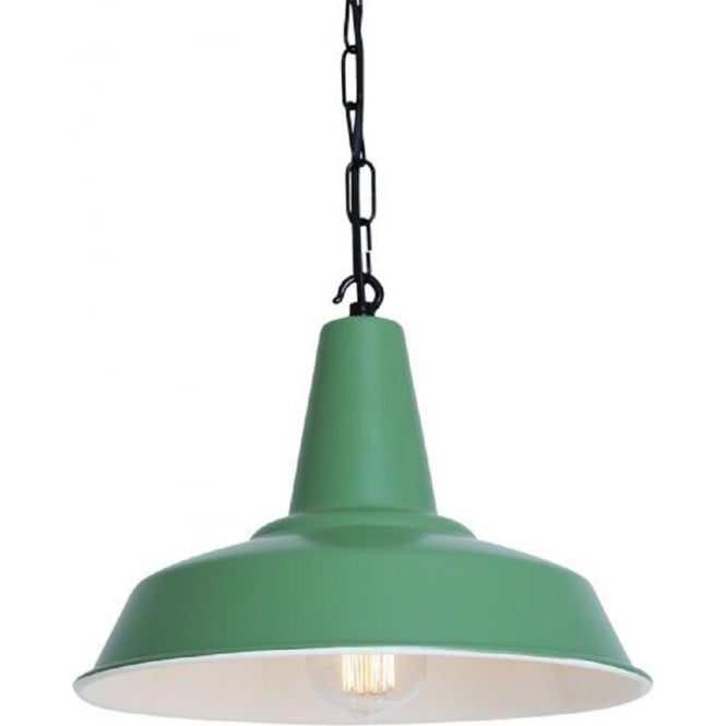 Green Industrial Style Tin Pendant Light On Black Chain