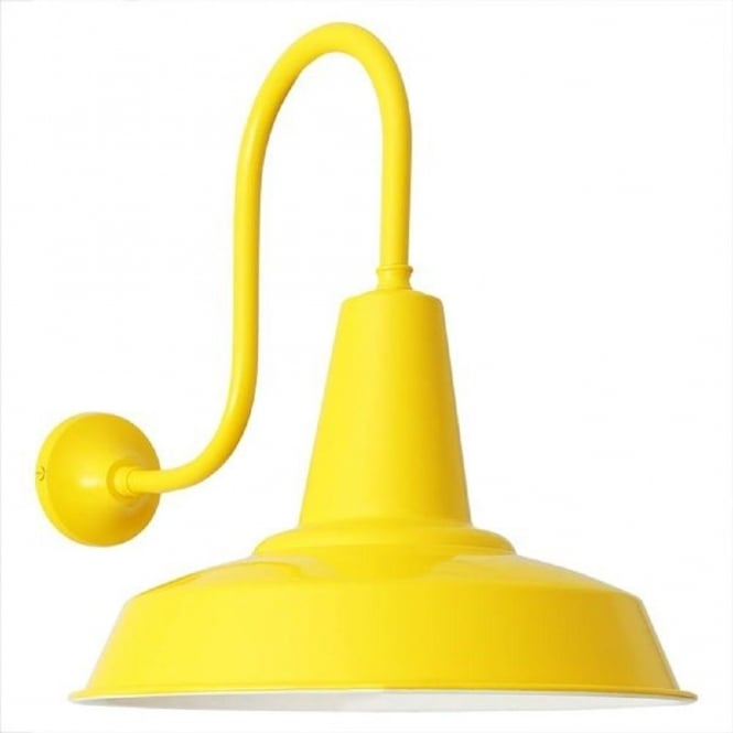 Yellow Painted Aluminium Wall Light In Vintage Industrial