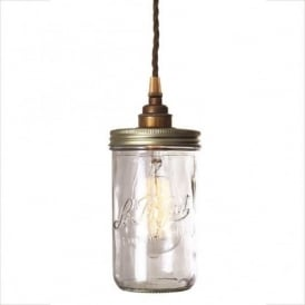 JAM JAR vintage chic Le Parfait glass jar ceiling pendant - antique brass fitting