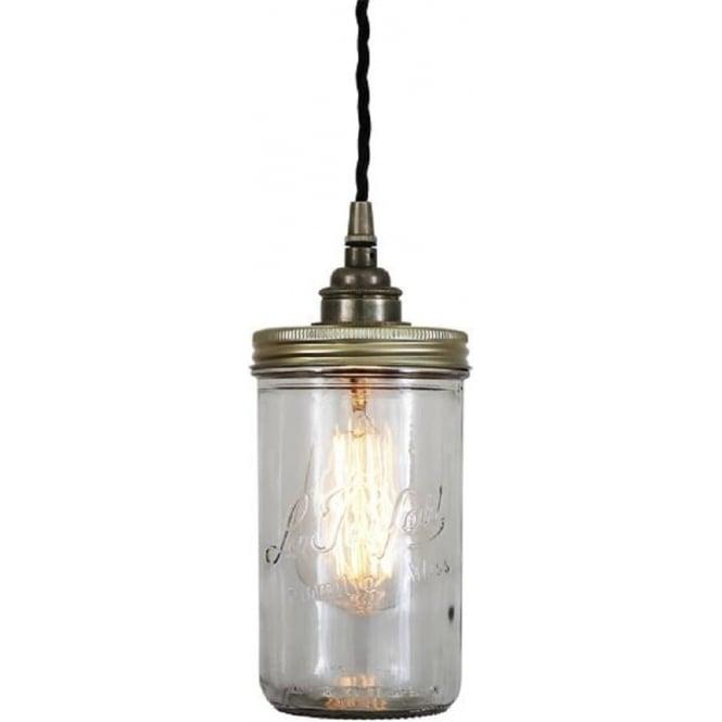 Le Parfait Jam Jar Ceiling Pendant Light On Antique Silver Fitting
