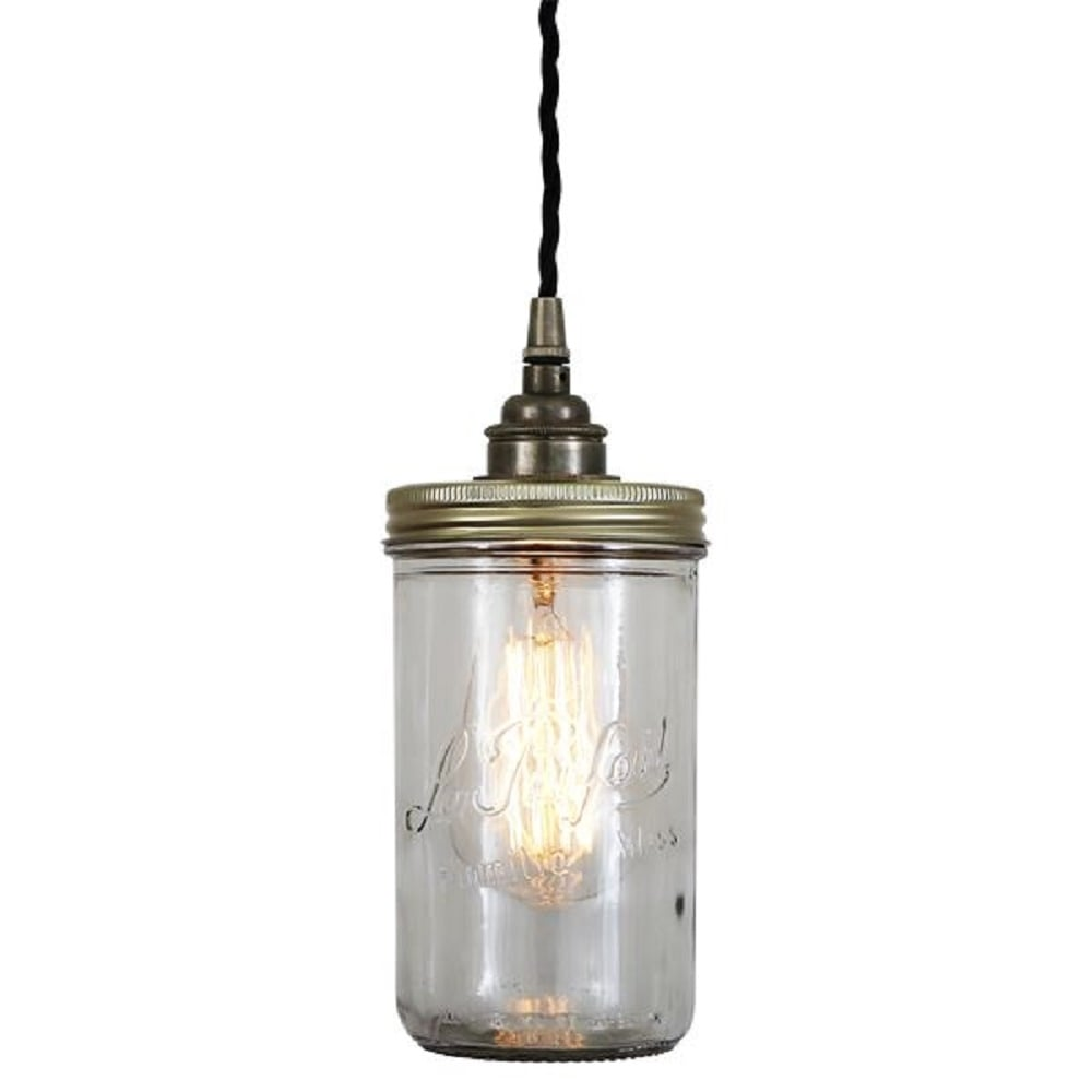 le parfait jam jar ceiling pendant light on antique silver. Black Bedroom Furniture Sets. Home Design Ideas