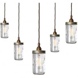 JAM JAR vintage cluster of Le Parfait glass jar pendants - antique brass fitting