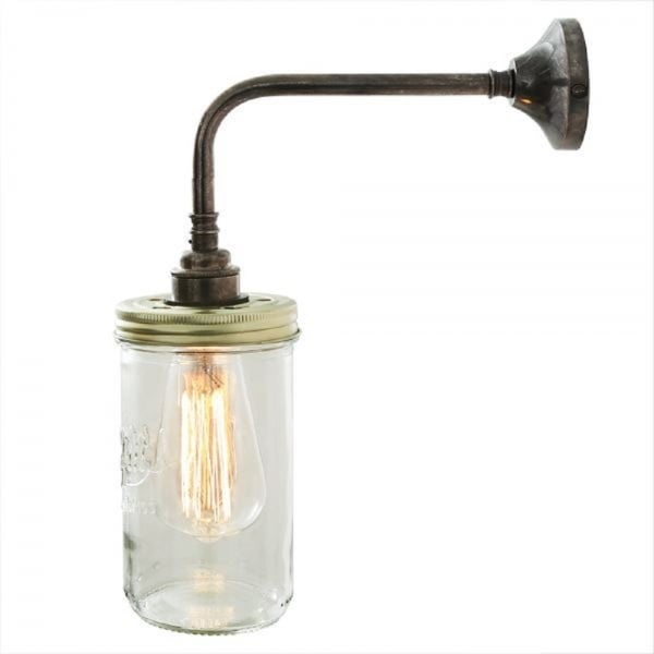Wall Light Jam Jar : Jam Jar Wall Light with Le Parfait Glass on Antique Silver Fitting