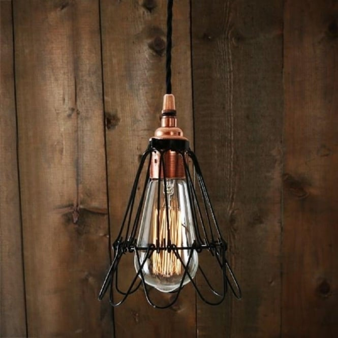 black wire cage ceiling light with copper fitting on braided cable