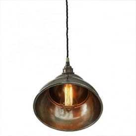 LA PAZ antique silver ceiling pendant light with angled shade