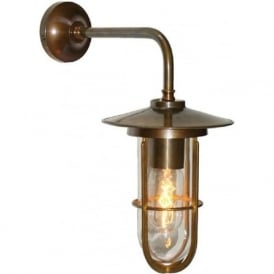 LENA industrial style clear well glass wall light - antique brass fitting