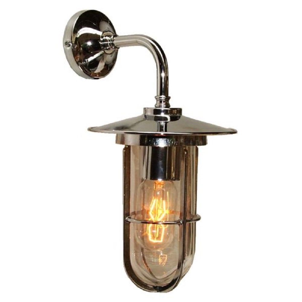 Antique Silver Industrial Style Wall Light With Well Glass