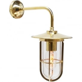 LENA industrial style clear well glass wall light - gold polished brass fitting