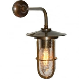 LENA industrial style crackle well glass wall light - antique brass fitting