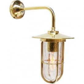 LENA industrial style crackle well glass wall light - gold polished brass fitting