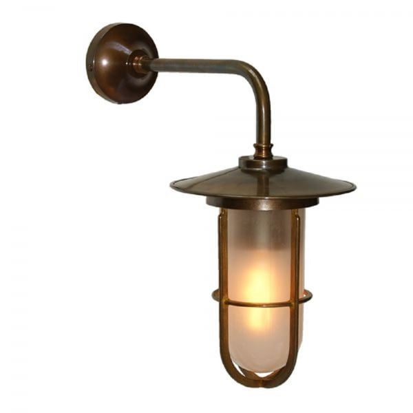 Wall Lights Tesco Direct : Vintage Character Wall Light in Antique Brass with Frosted Glass