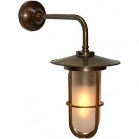 LENA industrial style frosted well glass wall light - antique brass fitting