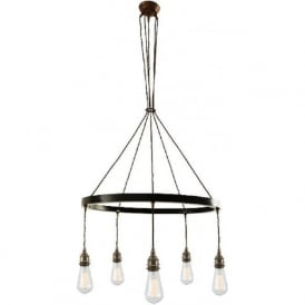LOME industrial hoop chandelier in antique brass