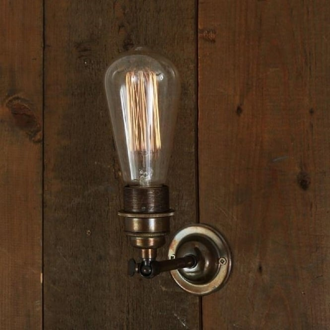 Antique brass vintage wall light for use with edison filament bulbs lome industrial style bare bulb wall light fitting antique brass aloadofball Images