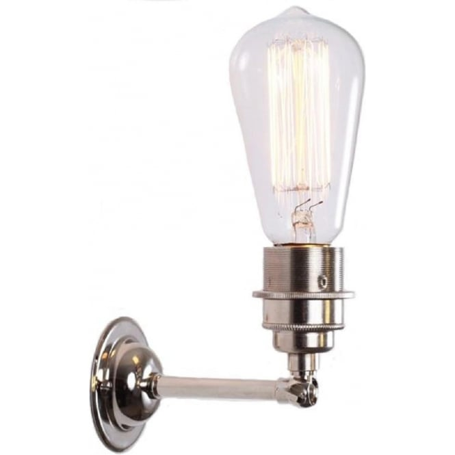 Industrial Style Exposed Bulb Wall Light In A Polished