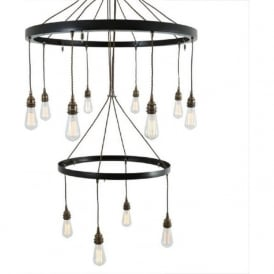 LOME large industrial 2 tier hoop chandelier in antique brass