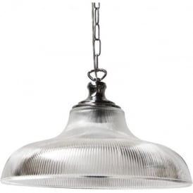 LONDON large ribbed glass hanging ceiling pendant on polished chrome suspension