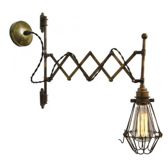 Monaghan Lighting LONN adjustable scissor action wall light with cage shade - antique brass