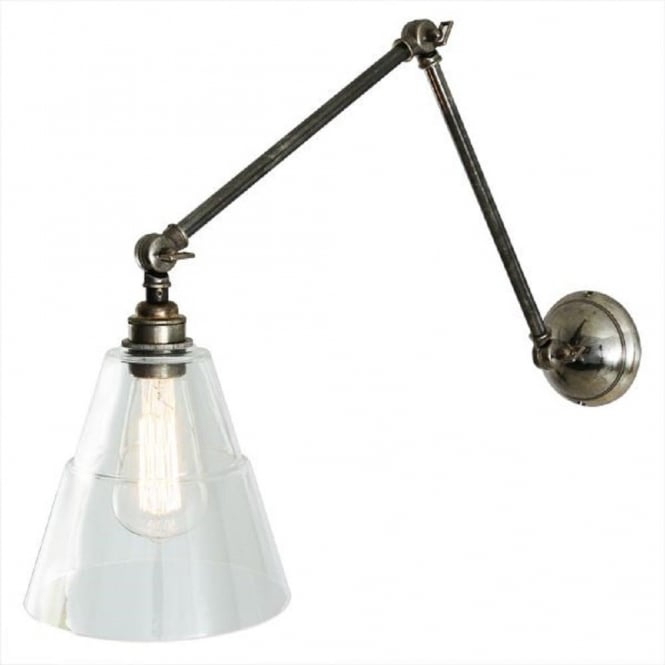 Angled Wall Light With Adjustable Arms, Antique Silver With Glass Shade