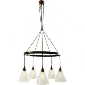 LYX industrial hoop chandelier with 5 lights