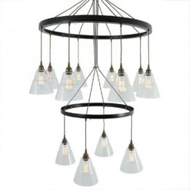 LYX large 2 tier industrial hoop chandelier