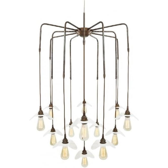 Large contemporary cluster of 13 bare bulb ceiling pendants long drop madaba large modern cluster of bare bulb hanging ceiling pendants antique brass mozeypictures Images