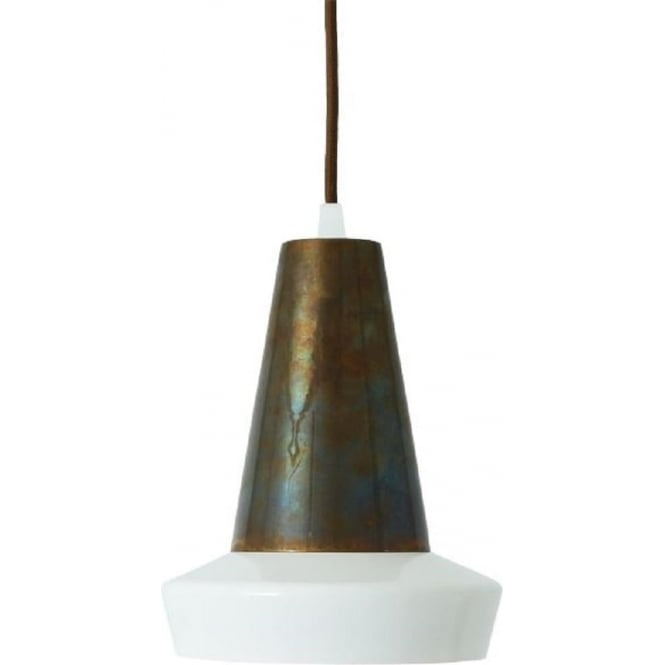 Monaghan Lighting MALABO contemporary LED ceiling pendant with contrasting white and antique brass shade