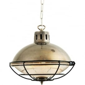 MARLOW rustic industrial metal ceiling pendant light in antique silver