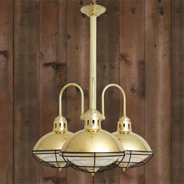 Industrial design 3 light rustic chandelier with gold metal shades marlow rustic industrial style chandelier with 3 gold polished brass lights aloadofball Choice Image