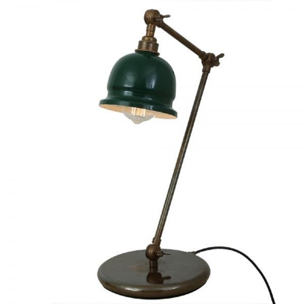 Bronze Angled And Adjustable Desk Lamp With Racing Green