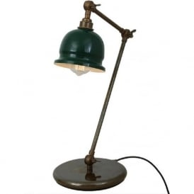 NICO retro design adjustable desk lamp in antique brass with racing green shade