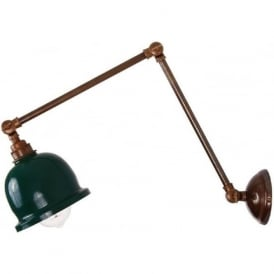 NICO retro design angled wall light - antique brass with racing green shade